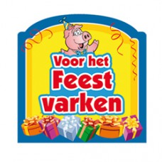 Sticker, voor het feestvarken