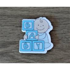 Baby met blokjes blauw