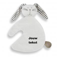 Knuffeldoekje konijn wit met persoonlijke bedrukking