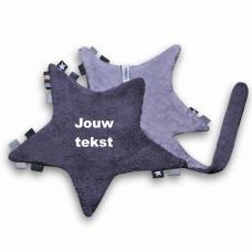 Labeldoekje ster antraciet/grijs met persoonlijke bedrukking