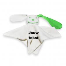 Tutpoppetje groen oor met persoonlijke bedrukking