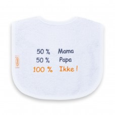 Slabbetje 50% mama 50% papa 100% ikke