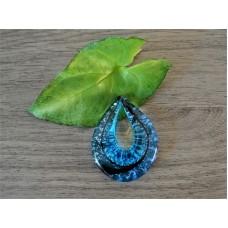 Glazen hanger Blauw met ketting