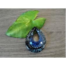 Glazen hanger Zwart Blauw met ketting
