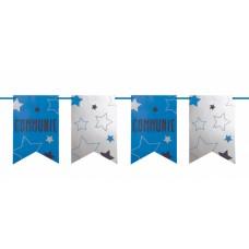 Vlaggenlijn communie blauw/wit
