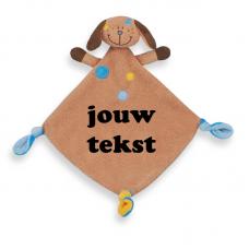 Knuffeldoekje hondje bruin/blauw met persoonlijke bedrukking