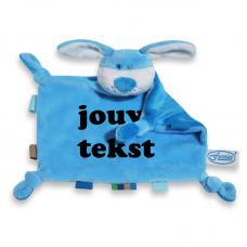 Knuffeldoekje hondje blauw met persoonlijke bedrukking