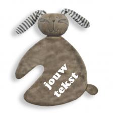 Knuffeldoekje konijn grijs met persoonlijke bedrukking