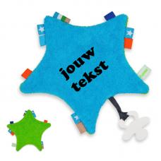 Labeldoekje ster blauw/groen met persoonlijke bedrukking
