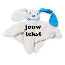 Tutpoppetje blauw oor met persoonlijke bedrukking